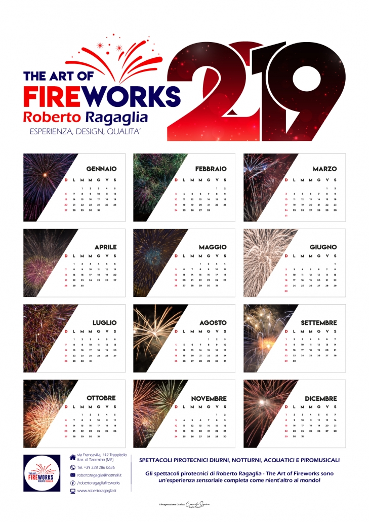 "Calendario Poster 2019 ""The Art Of Fireworks"". Formato 42 cm x 59,4-cm."
